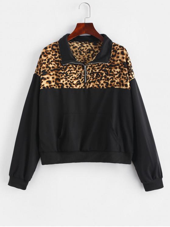 fancy Paneled Pouch Quarter Zip Pullover Sweatshirt - LEOPARD L