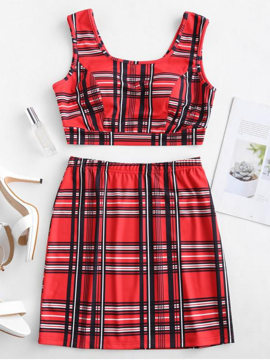 lady ZAFUL Cropped Plaid Top And Skirt Set - RED M