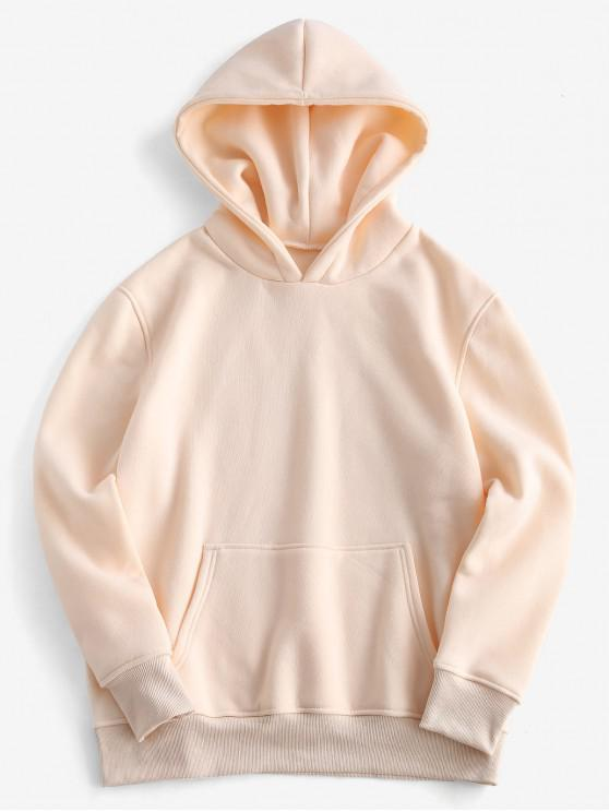 new Loose Plain Front Pocket Hoodie - APRICOT S