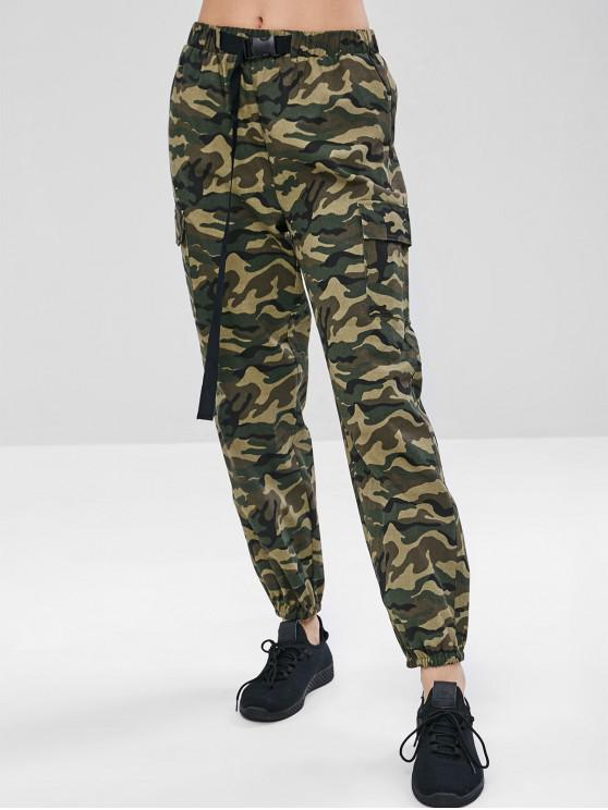 shop ZAFUL Camouflage Pocket Jogger Pants - WOODLAND CAMOUFLAGE M