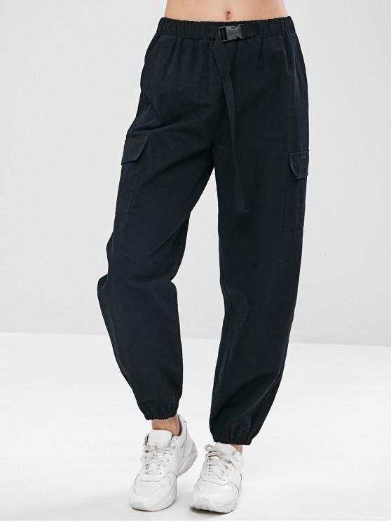 ladies ZAFUL Drawstring Pocket Jogger Pants - BLACK M