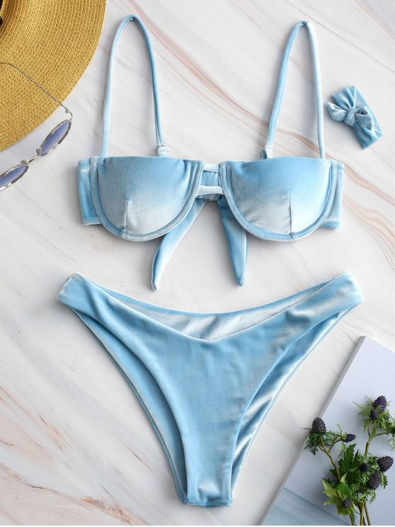 shop ZAFUL Underwire Velvet Balconette Bikini Set - LIGHT BLUE M