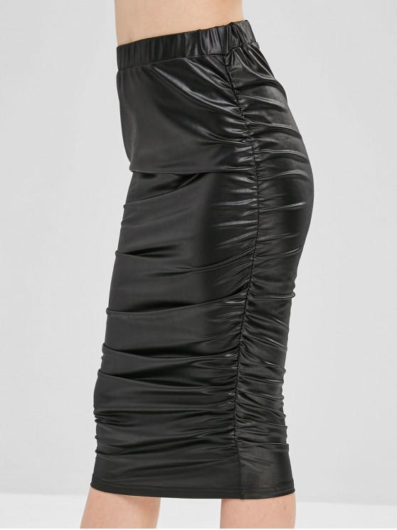 fancy Cinched Faux Leather Skirt - BLACK M