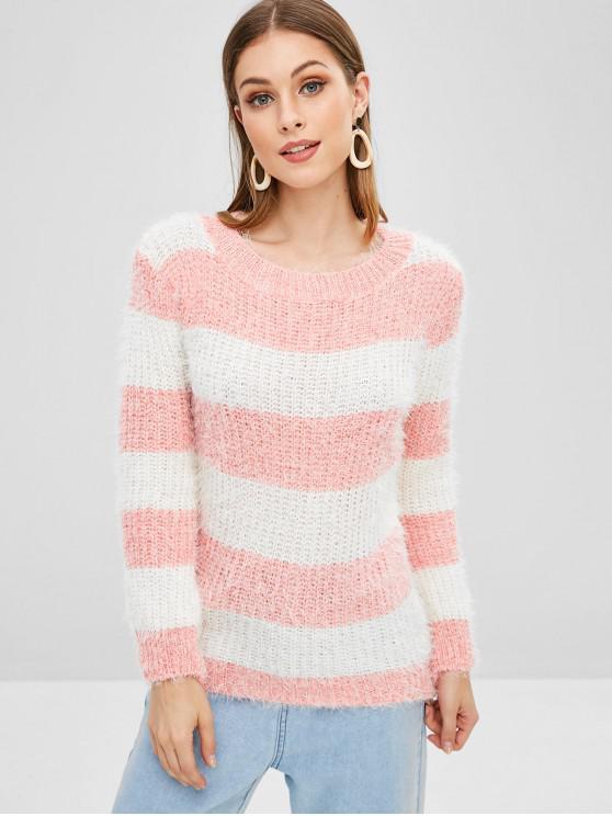 Camisola Fofa de Lã Robusta Listrada - Rosa Um Tamanho