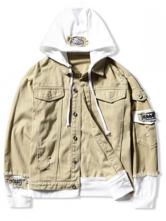 best Casual Faux Pocket Ripped Letter Number Applique Hooded Jacket - LIGHT KHAKI L