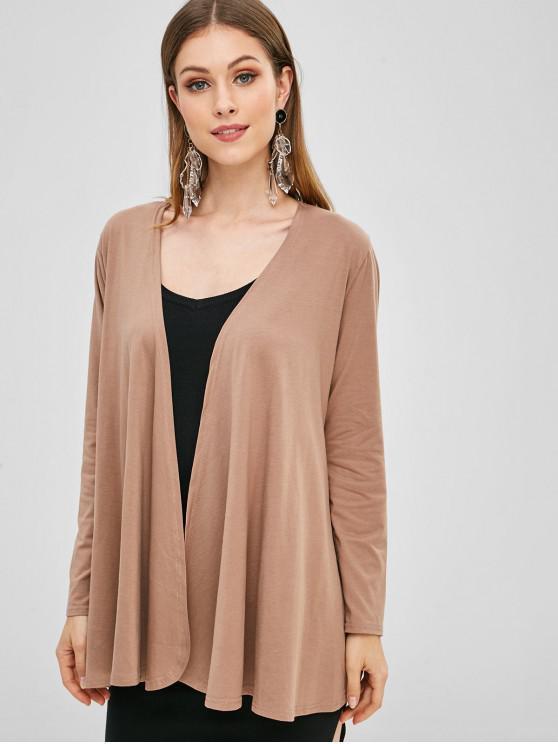 shop Plain Open Front Cardigan - CAMEL BROWN S