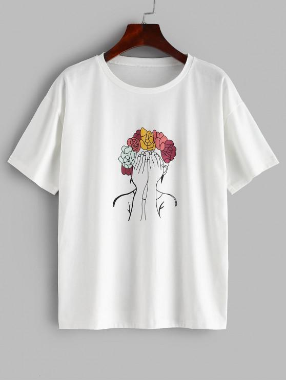 unique ZAFUL Wreath Girl Relaxed Graphic Tee - WHITE S