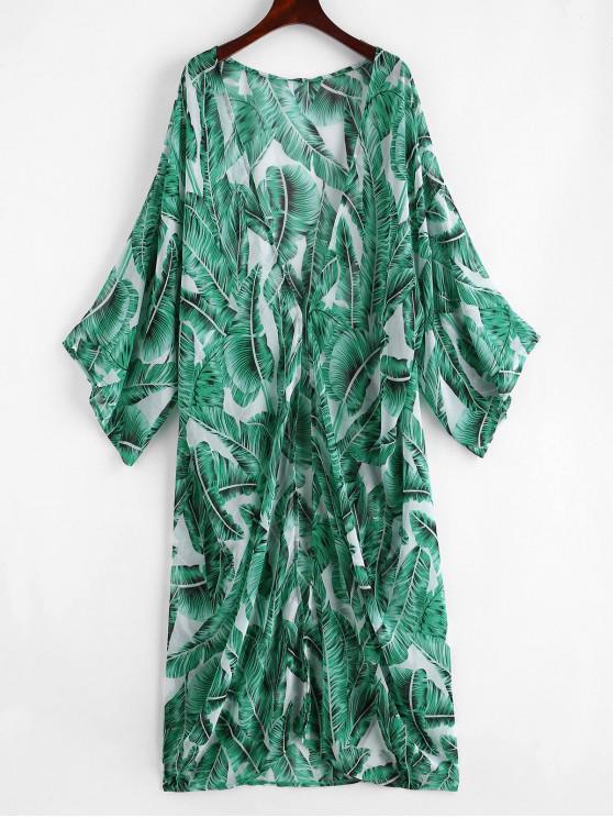 shops Palm Leaf Beach Kimono - JUNGLE GREEN ONE SIZE