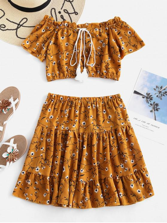 fancy Floral Off The Shoulder Top and Skirt Co Ord Set - MULTI L