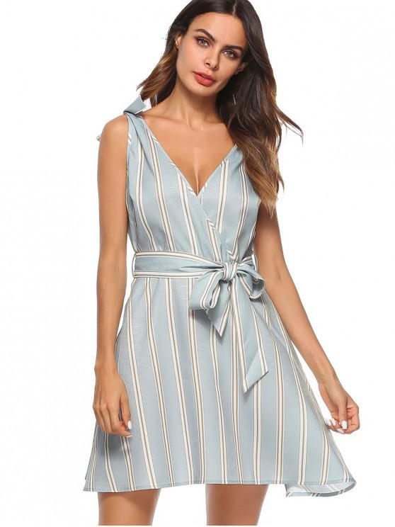 Gestreiftes Flare Mini-Kleid mit Gürtel - Multi M