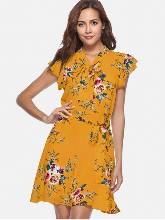 women Floral Bow Tie Collar A Line Dress - BEE YELLOW S