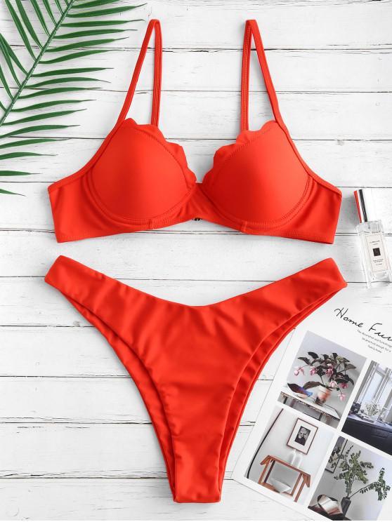 sale ZAFUL Push Up Scalloped High Cut Bikini Swimsuit - BRIGHT ORANGE S