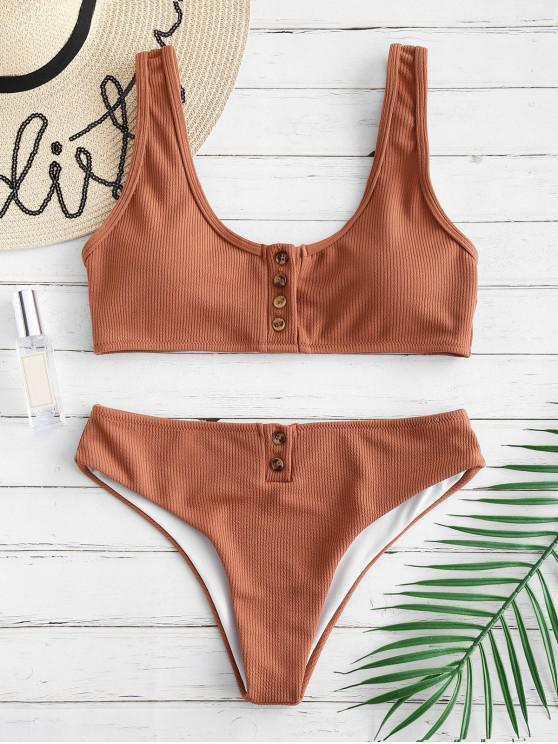 Ensemble de Bikini Texturé Côtelé Rembourré avec Boutons - Brun Légère L