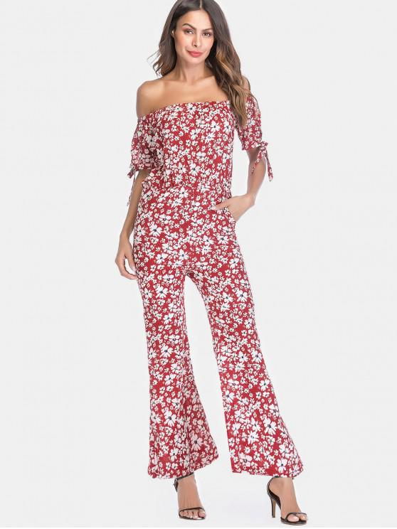 outfits Off Shoulder Floral Print Loose Jumpsuit - RED 2XL