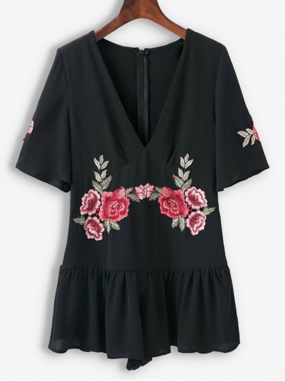 fancy Floral Patched Ruffles Wide Leg Romper - BLACK L