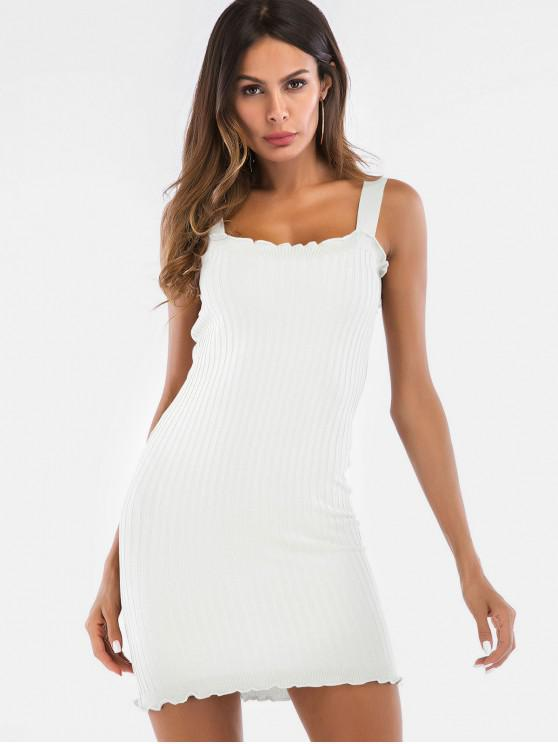 hot Ruffles Ribbed Bodycon Knit Dress - WHITE L