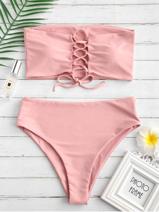 ZAFUL Bandeau-Bikini-Set mit Schnürung und Hohem Bund - Rosa L
