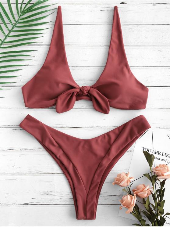 Bikini de Pierna Alta Anudada de ZAFUL - Rojo Cereza L