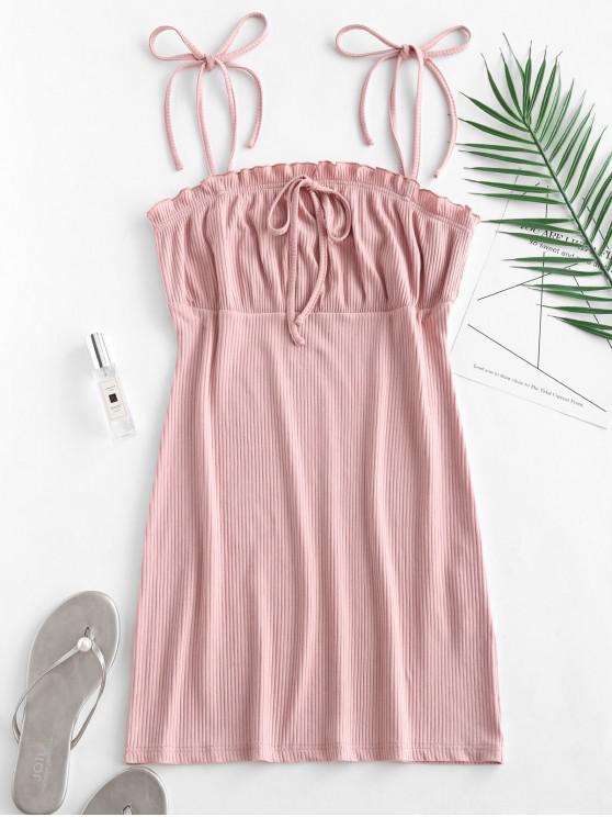 unique Empire Waist Ruffles Cami Dress - PINK S