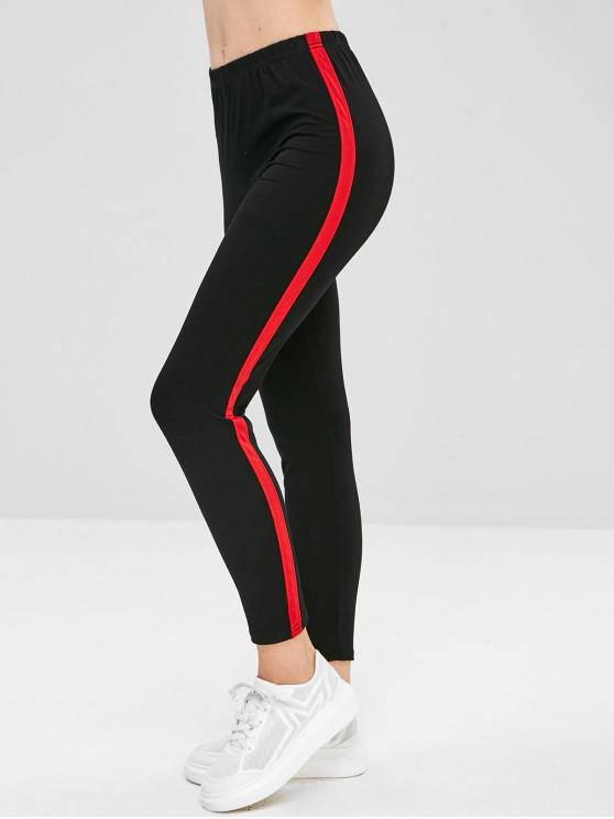 Stripe Trim Leggings - Multicolor M