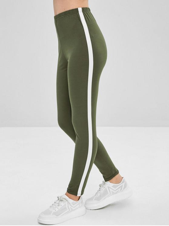 outfit Stripe Trim Leggings - FERN GREEN M