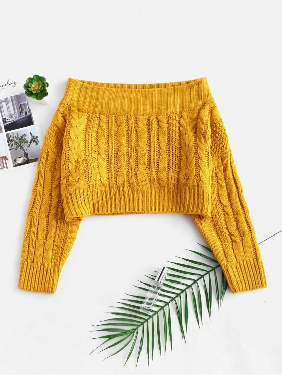 Suéter grueso del hombro del tejido en cable Off - Amarillo Brillante Talla única