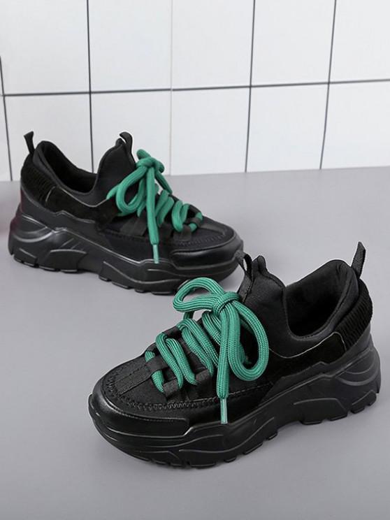 shop Color Block Platform Ugly Sneakers - BLACK EU 36