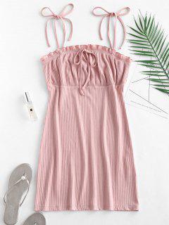 Empire Waist Ruffles Cami Dress - Pink S