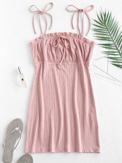 Empire Waist Ruffles Cami Dress - Pink M