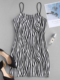 ZAFUL Zebra Print Fitted Cami Dress - Black L