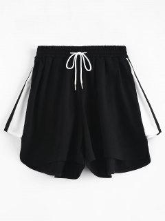 High Waisted Drawstring Pull On Shorts - Black M