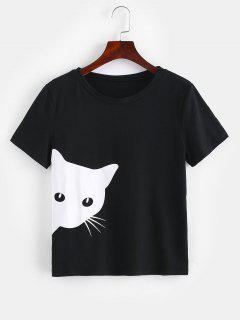 ZAFUL Cat Graphic Mangas Cortas Camiseta - Negro S