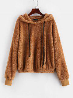 ZAFUL Oversized Fleece Pullover Hoodie - Light Brown M