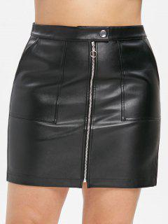ZAFUL Faux Leather Plus Size Pocket Skirt - Black 3x