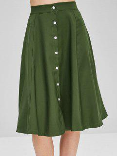 Button Up A Line Casual Skirt - Army Green L
