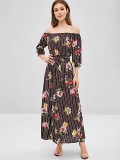 Floral Stripes Slit Off Shoulder Dress - Multi S