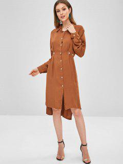 Casual High Low Slit Shirt Dress - Light Brown M