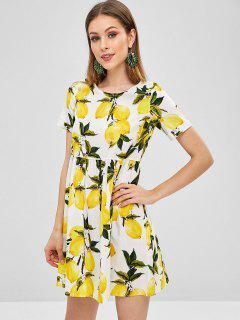 Cuffed Sleeves Lemons Print Mini Dress - Multi L
