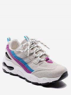 Color Block Mesh Trim Platform Sneakers - Pale Violet Red Eu 38