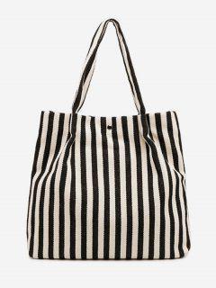Striped Large Capacity Canvas Handbag - Black