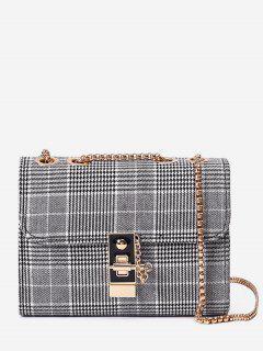 Plaid Hasp Flap Chain Bag - Gray