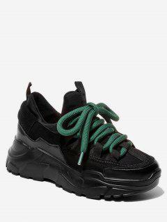 Color Block Platform Sport Sneakers - Black Eu 35