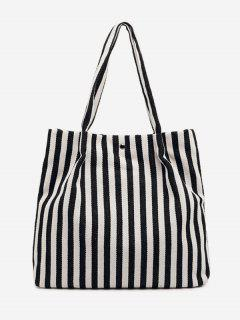 Striped Large Capacity Canvas Handbag - Blue