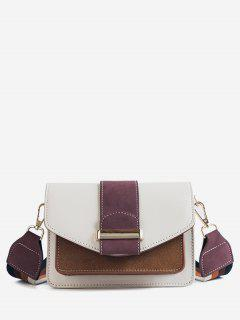 Color Block Flap Corssbody Bag - Purple