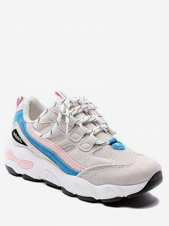 Color Block Mesh Trim Platform Sneakers - Light Pink Eu 36