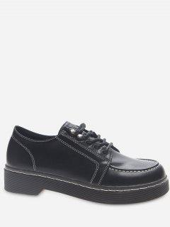 Moc Toe Faux Leather Lacing Shoes - Black Eu 38