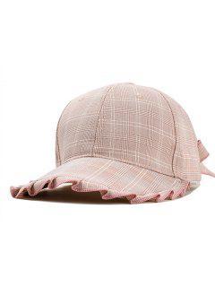 Tartan Style Bowknot Decoration Hat - Pink