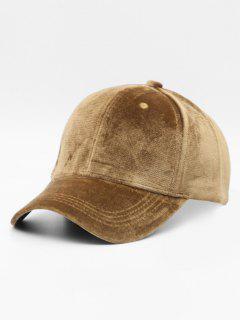 Solid Color Design Suede Baseball Hat - Camel Brown