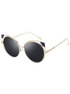 Hollow Out Cat Eye Shape Sunglasses - Black