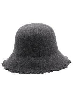 Faux Wool Winter Bucket Hat - Dark Gray